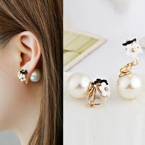 double sided pearl flower clip on earrings